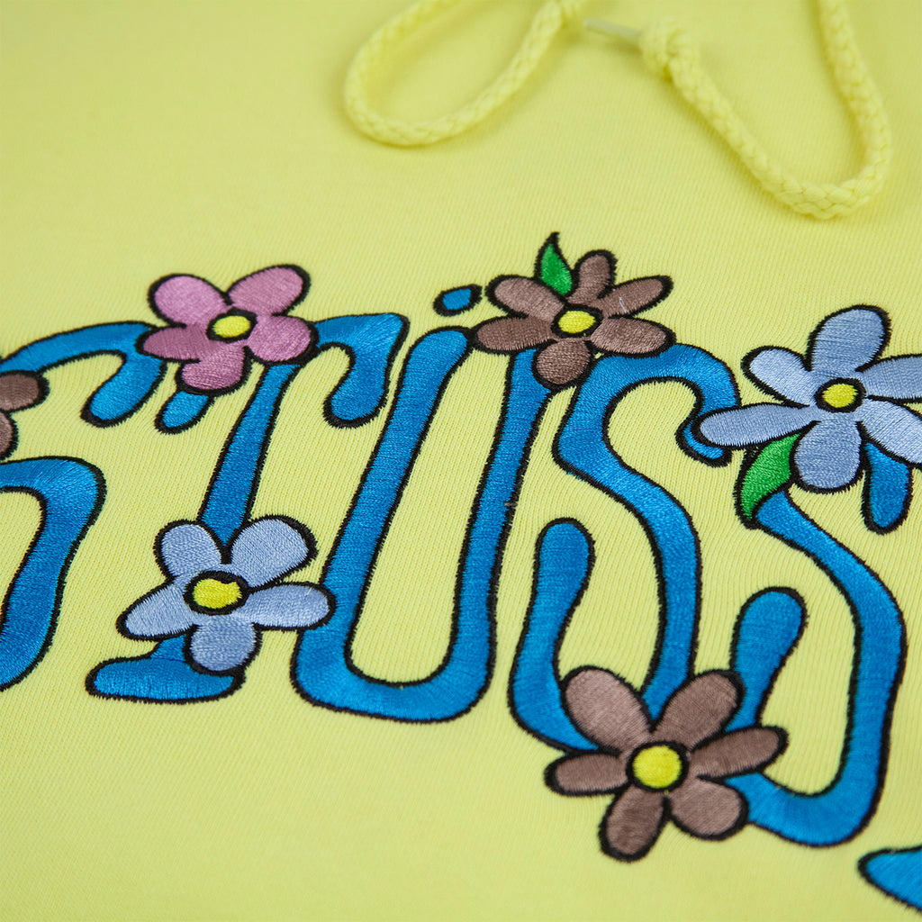 Stussy Collegiate Floral App Hoodie in Lemon - Embroidery 2