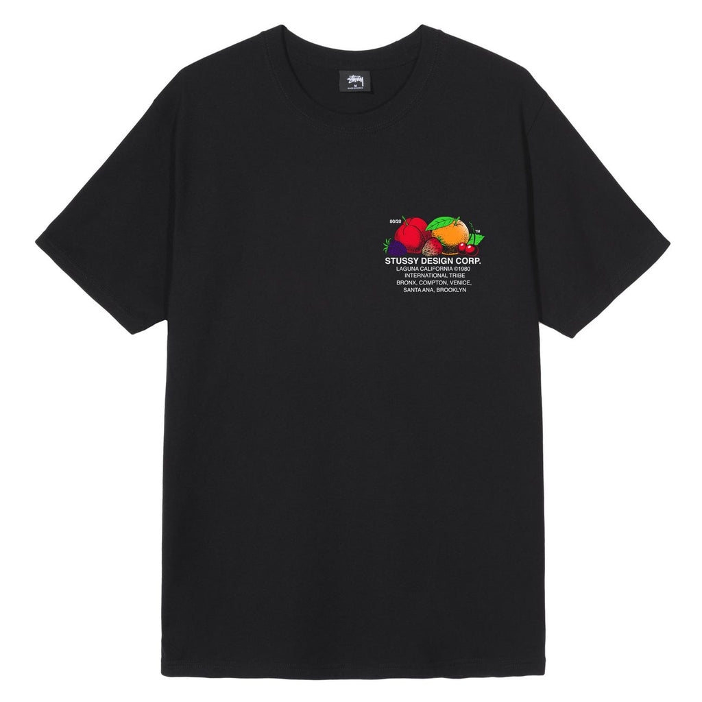 Stussy Fresh Fruit T Shirt in Black - Front