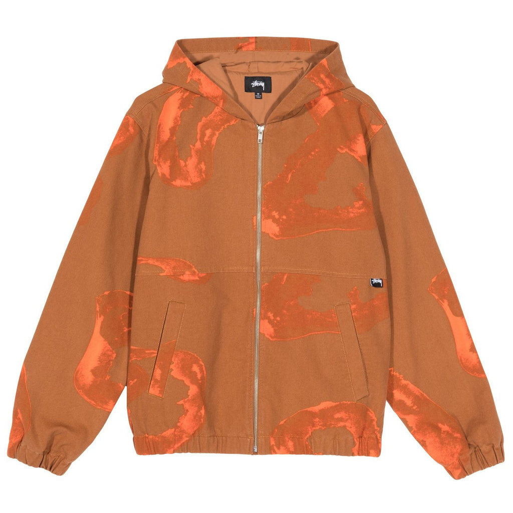 Stussy Printed Canvas Work Jacket in Clay