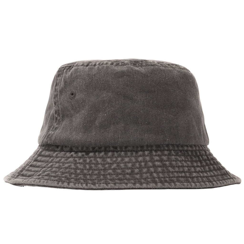 Stussy Stock Washed Bucket Hat in Black - Back