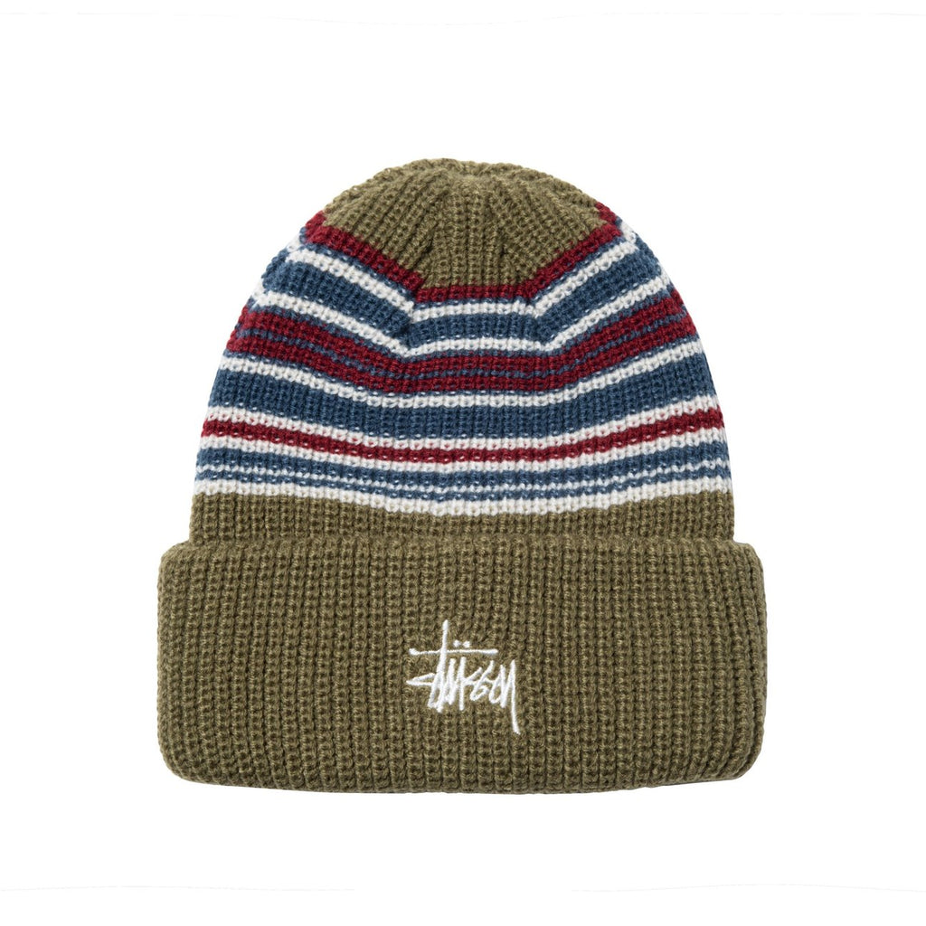 Stussy Striped Cuff Beanie Olive - Front