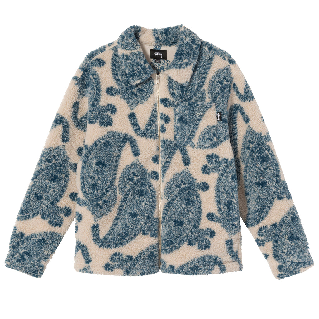 Stussy Big Paisley Full Zip Sherpa Jacket in Natural