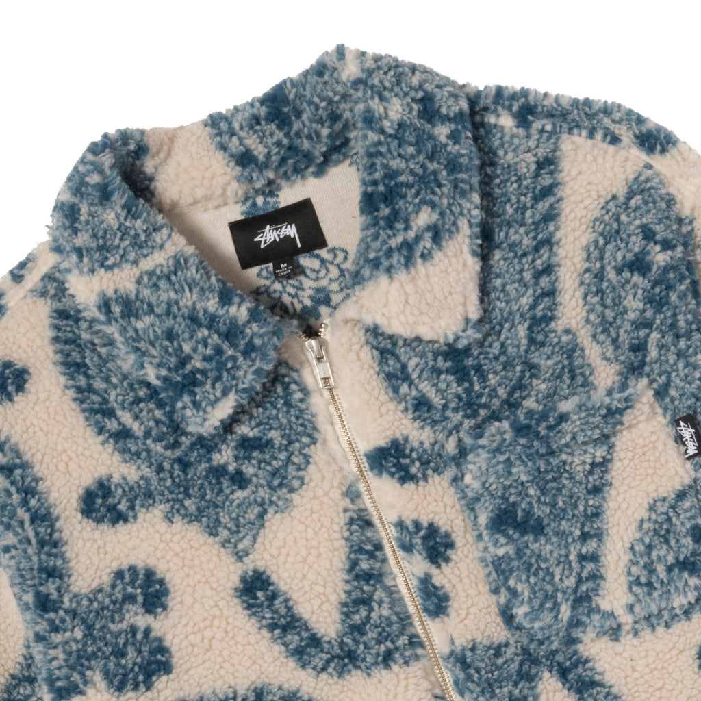 Stussy Big Paisley Full Zip Sherpa Jacket in Natural - Detail