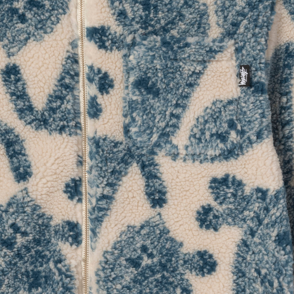 Stussy Big Paisley Full Zip Sherpa Jacket in Natural - Pocket