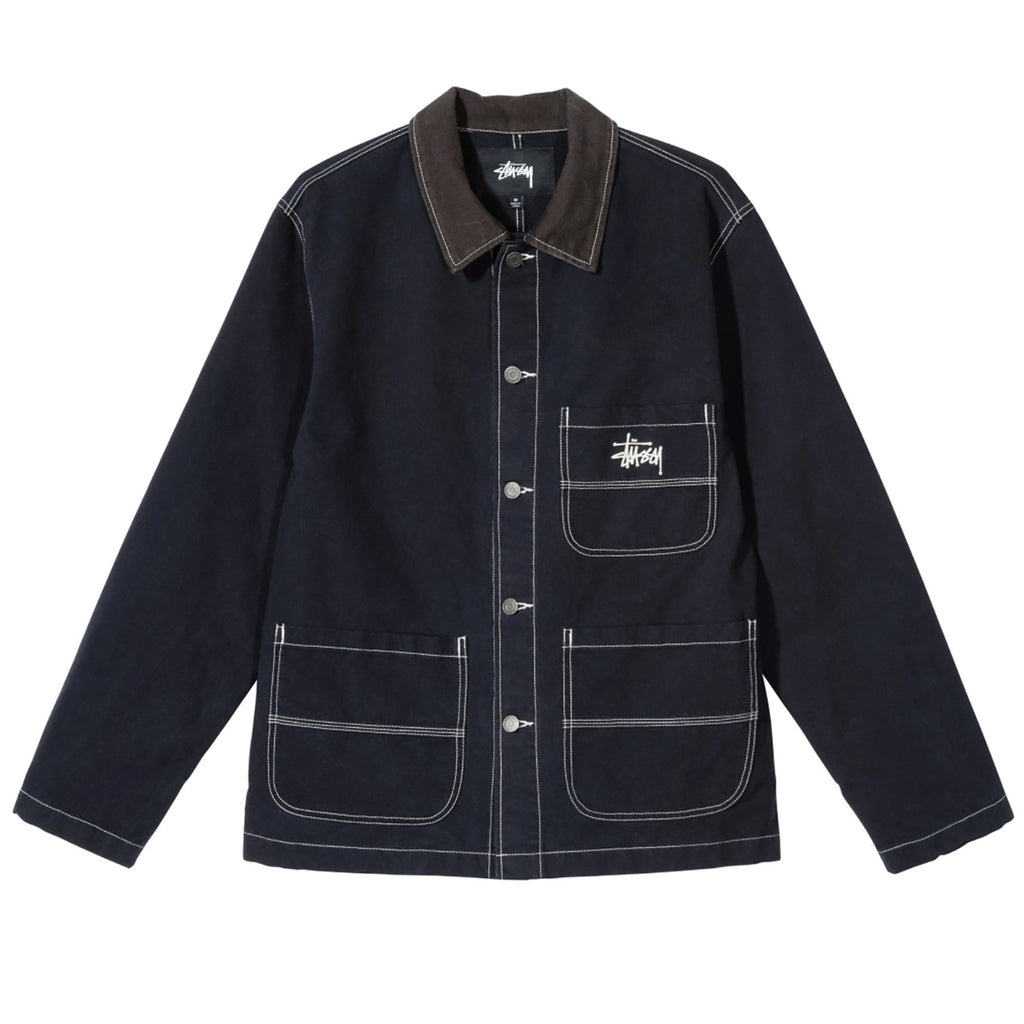 Stussy Brushed Moleskin Chore Jacket in Navy