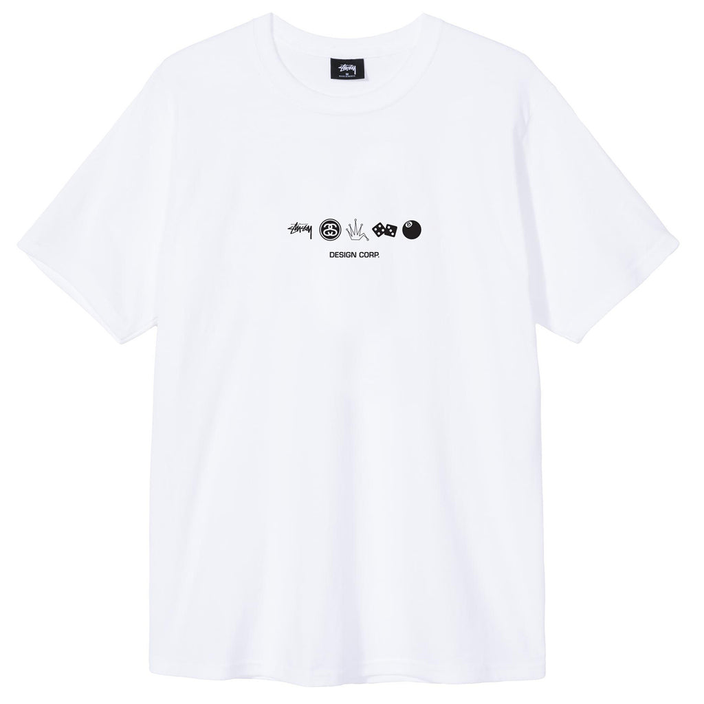 Stussy Global Design Corp T Shirt in White - Front