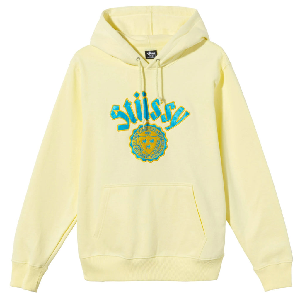 Stussy City Seal Embroidered Hoodie in Yellow