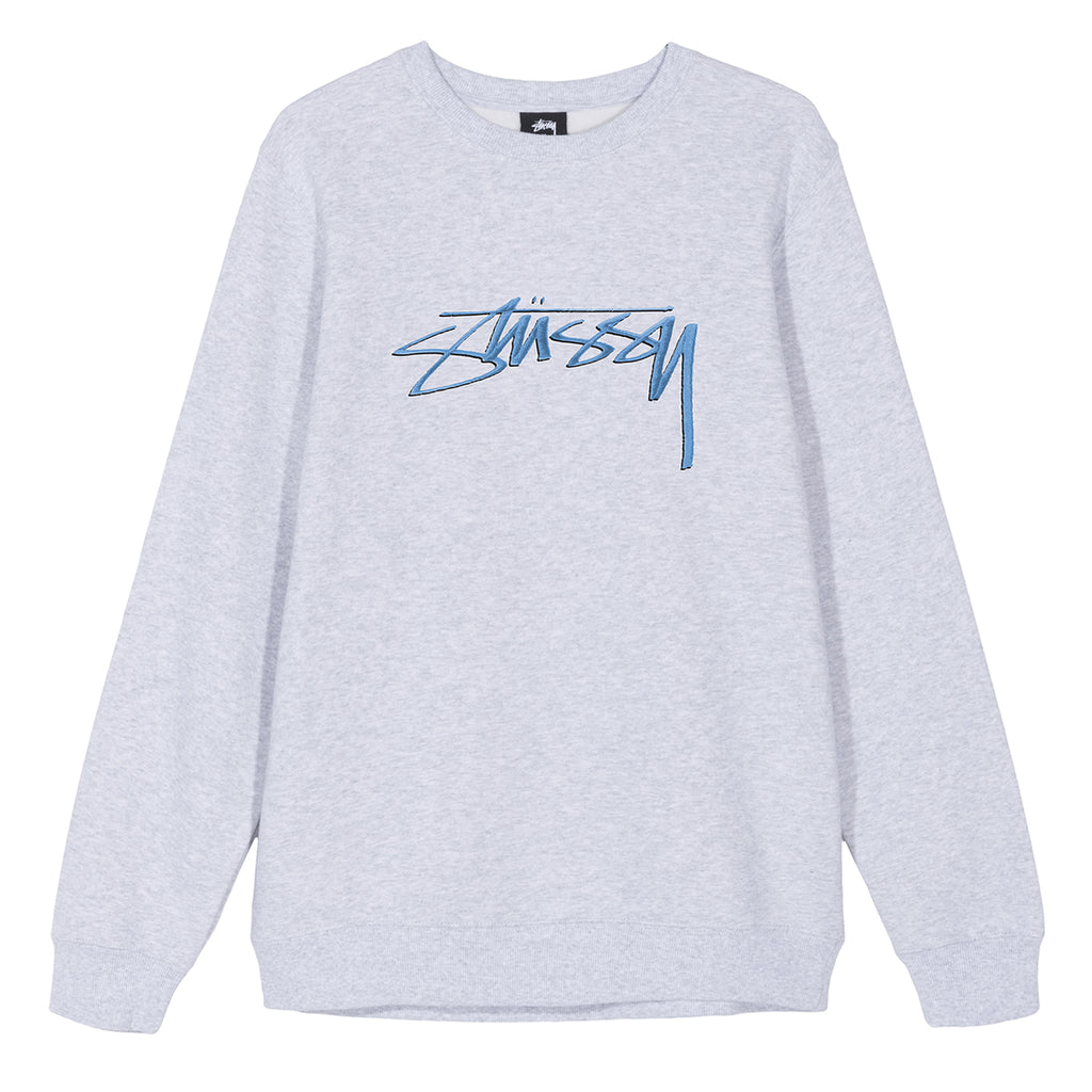 Stussy Smooth Stock App Crew Sweatshirt in Ash Grey