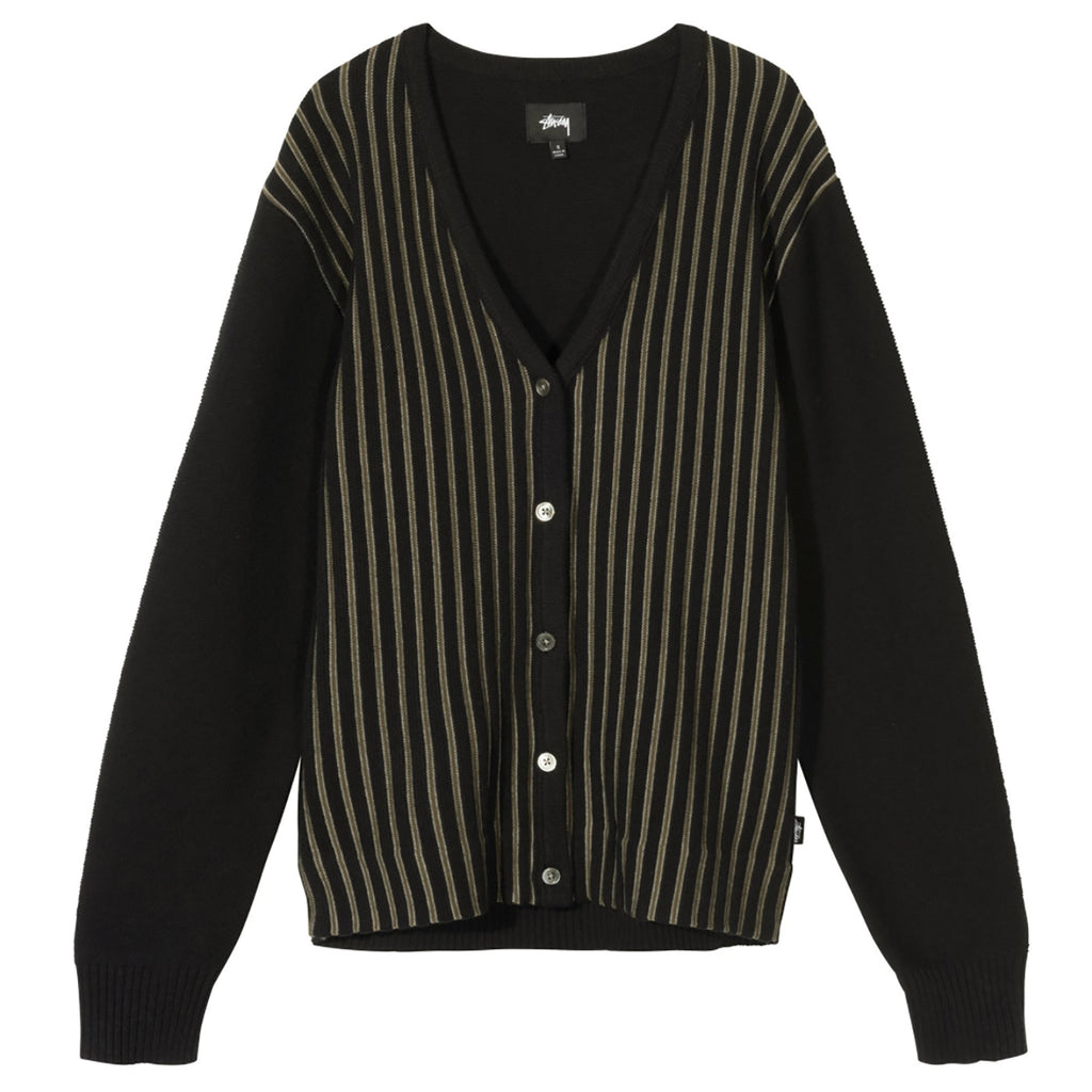 Stussy Stripe Cardigan in Black
