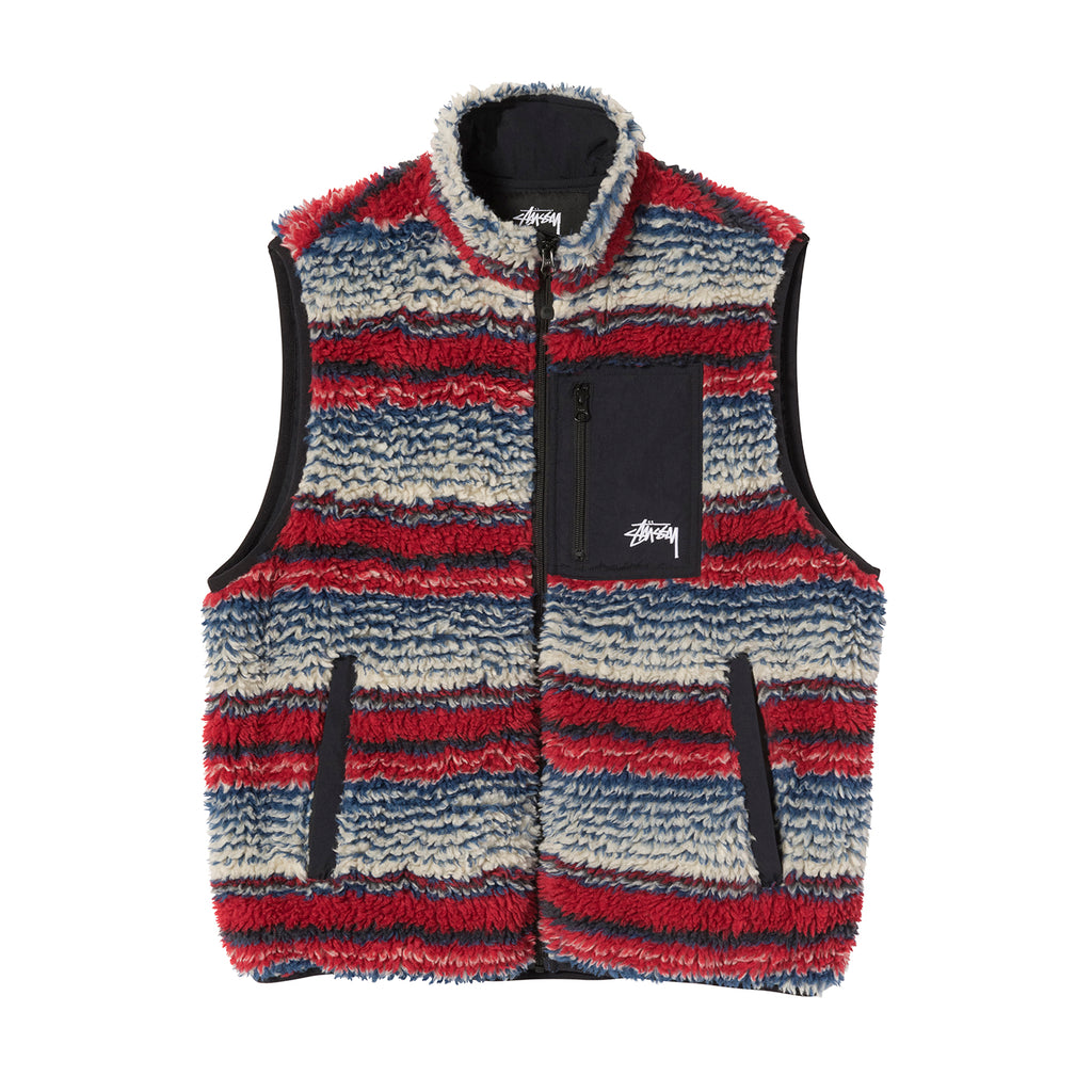 Stussy Striped Sherpa Vest in Multi