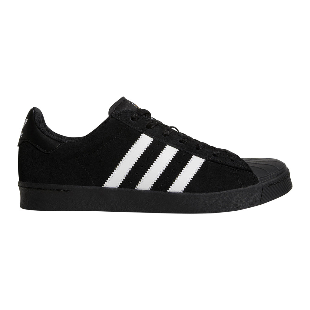 Adidas Skateboarding Superstar Vulc ADV Shoes in Core Black / Footwear White / Core Black