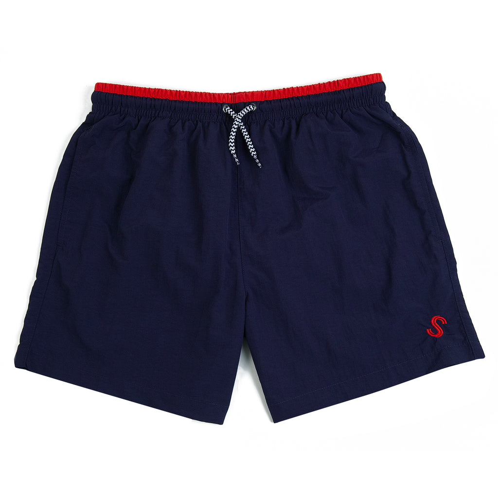 Signature Clothing S Logo Swim Shorts in Navy / Red