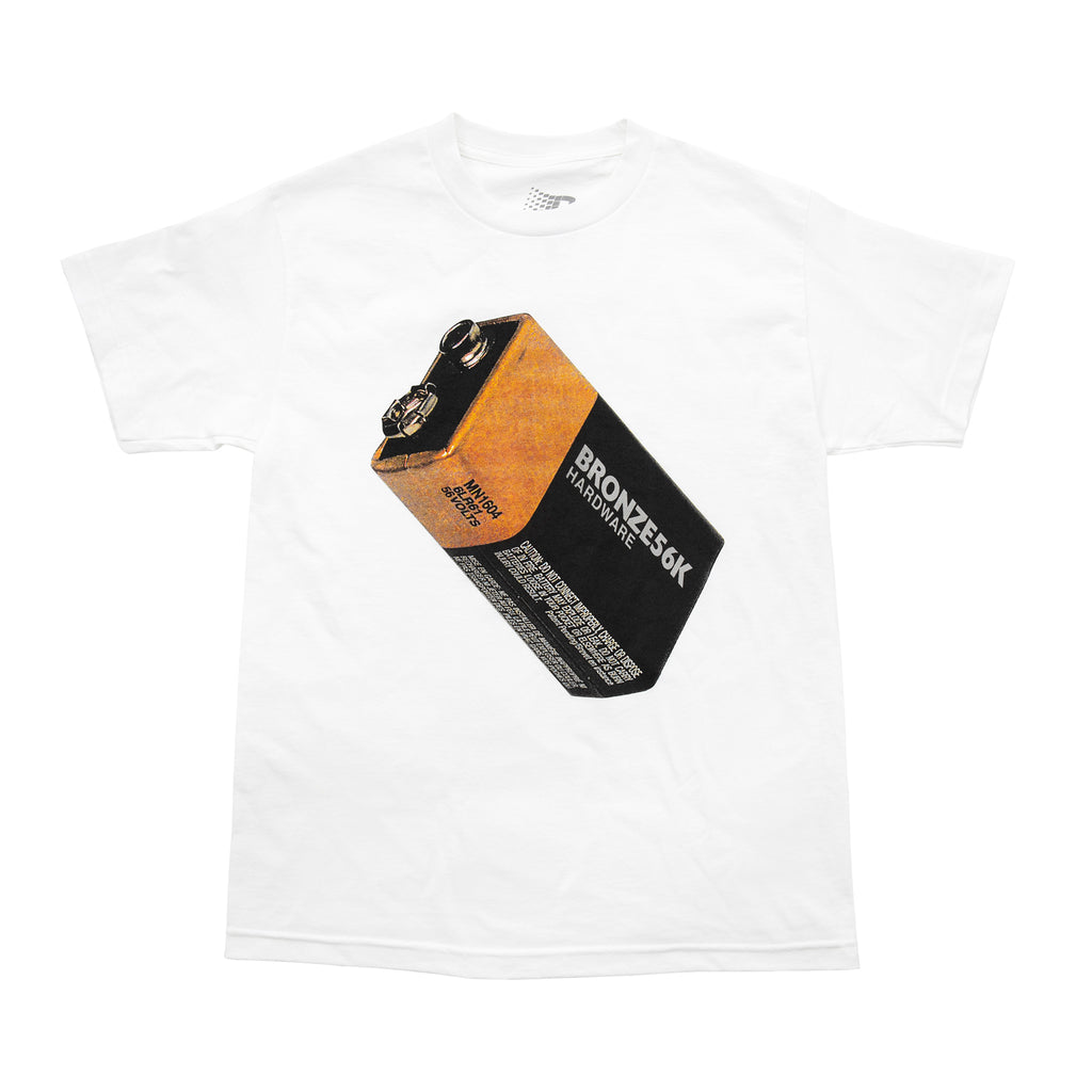 Bronze 56k Battery T Shirt in White