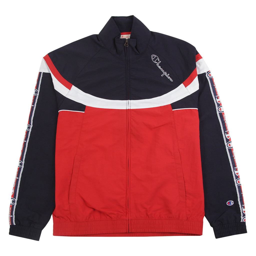 Champion Reverse Weave Taped Colour Block Track Top Jacket in Red / Navy / White