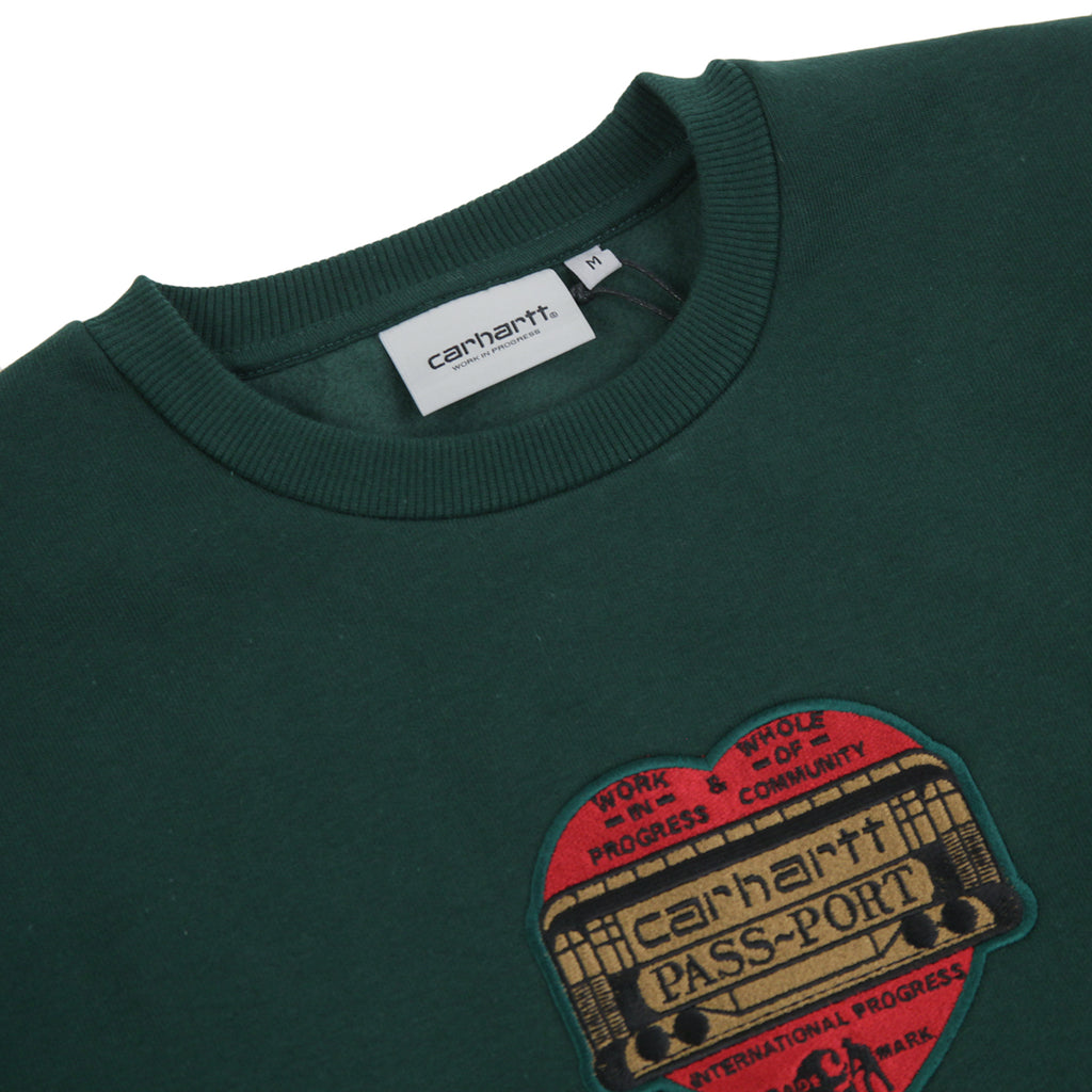 Carhartt WIP x Pass Port Thank You Sweatshirt in Bottle Green - Detail
