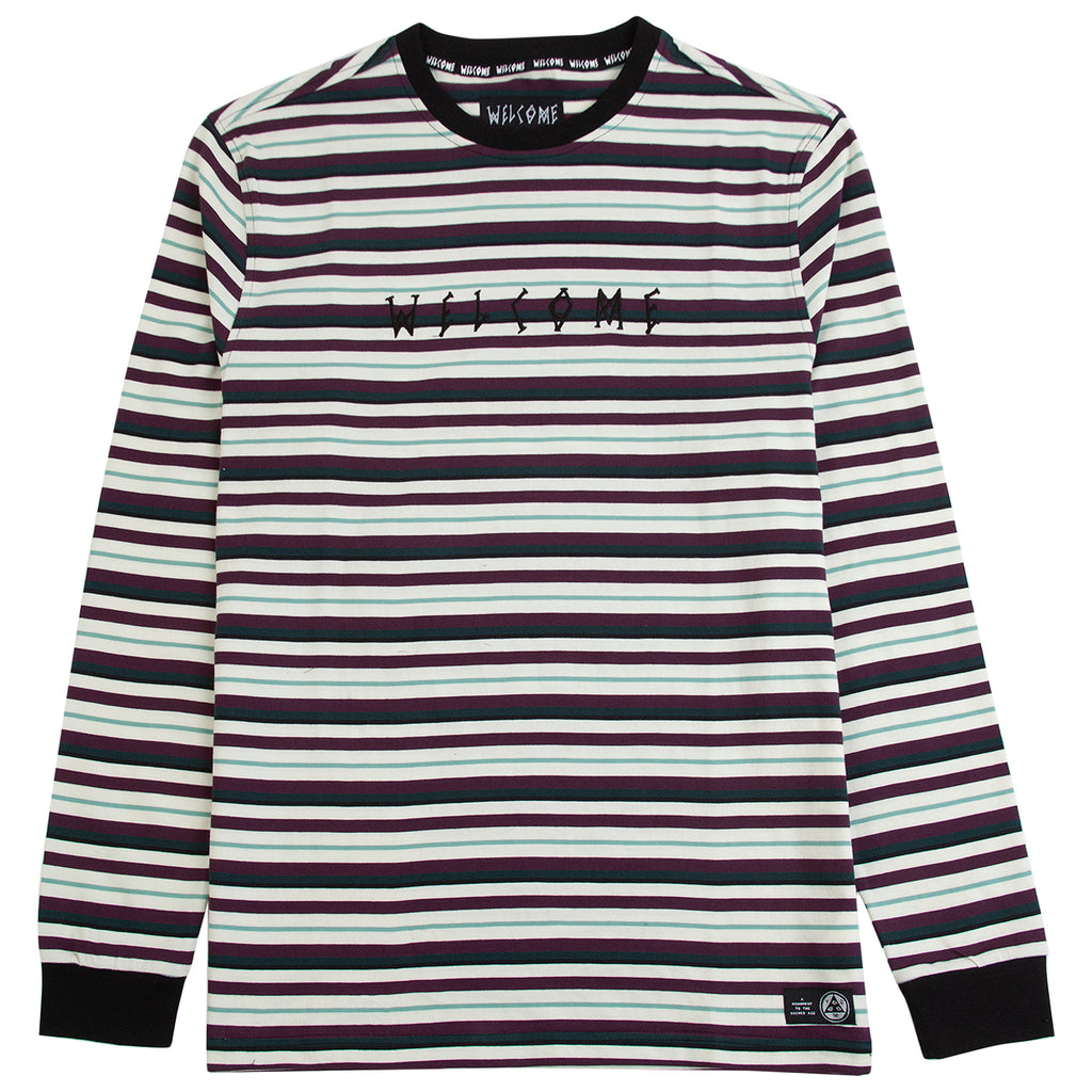 Welcome Skateboards Surf Stripe Long Sleeve Knit T Shirt in Bone / Plum
