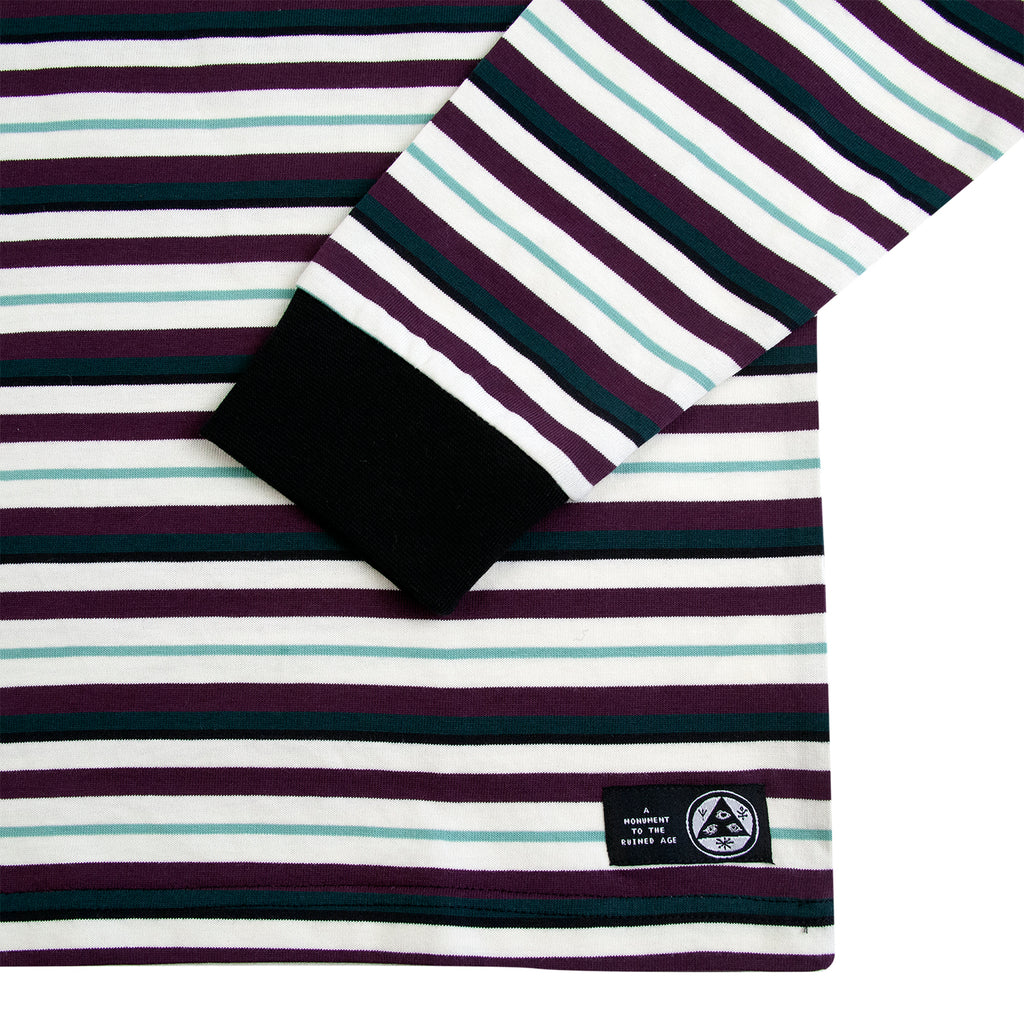 Welcome Skateboards Surf Stripe Long Sleeve Knit T Shirt in Bone / Plum - Cuff