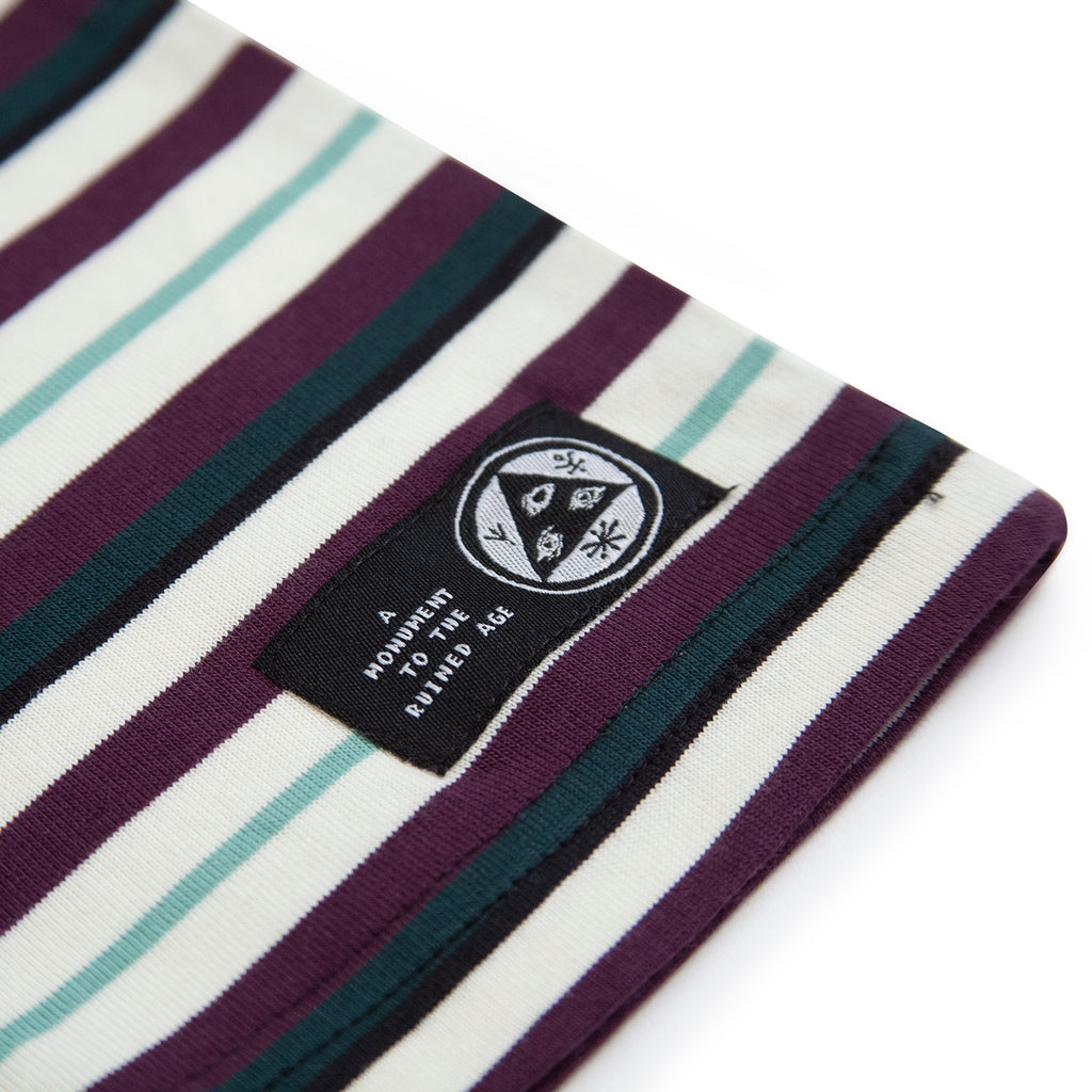 Welcome Skateboards Surf Stripe Long Sleeve Knit T Shirt in Bone / Plum - Label