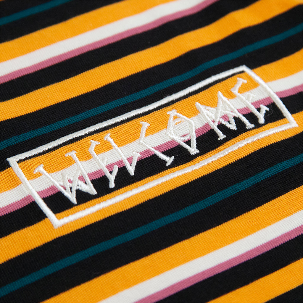 Welcome Skateboards Surf Stripe Short Sleeve Knit T Shirt in Cheddar / Black - Embroidery