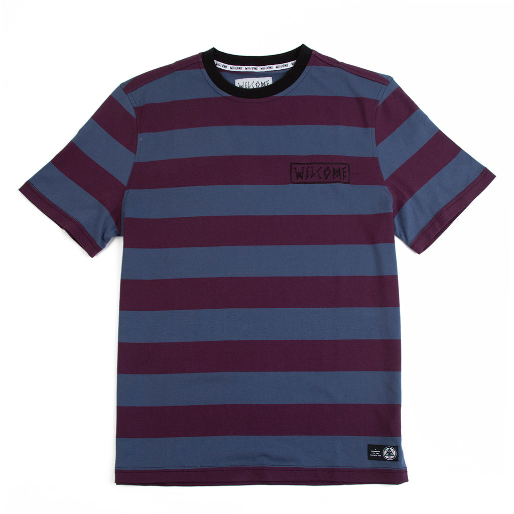 Welcome Skateboards Thicc Stripe Short Sleeve Knit T Shirt in Plum / Slate