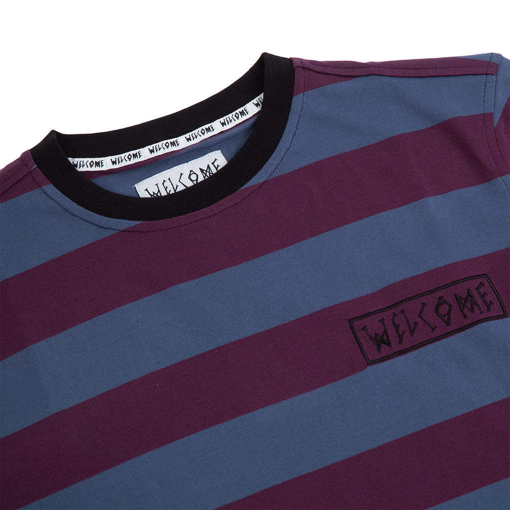 Welcome Skateboards Thicc Stripe Short Sleeve Knit T Shirt in Plum / Slate - Detail