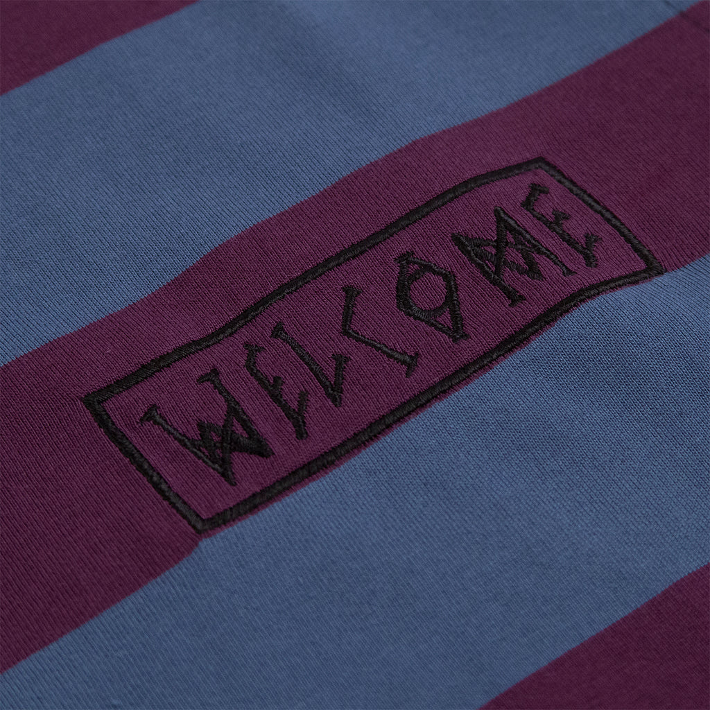 Welcome Skateboards Thicc Stripe Short Sleeve Knit T Shirt in Plum / Slate - Logo