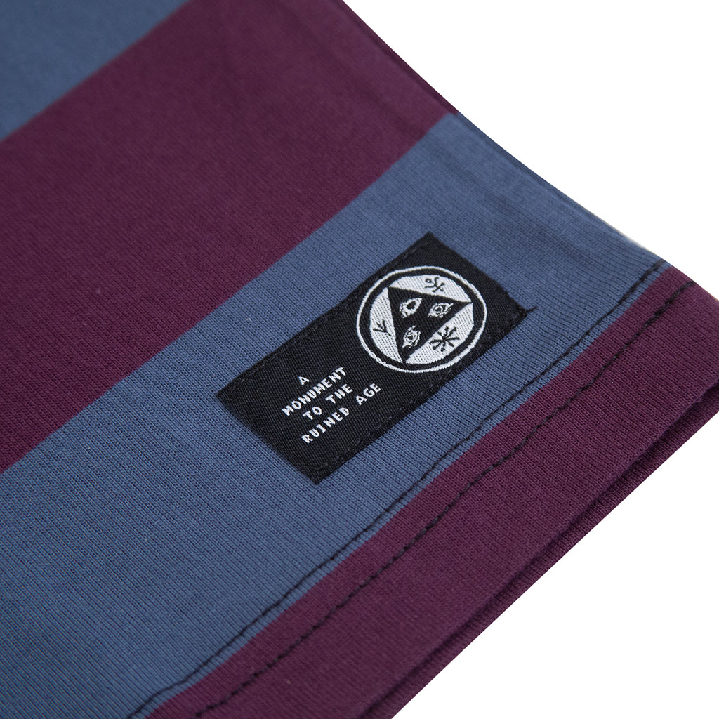 Welcome Skateboards Thicc Stripe Short Sleeve Knit T Shirt in Plum / Slate - Label