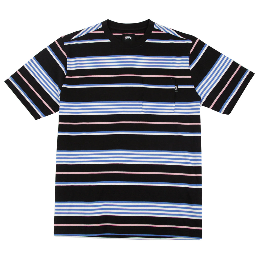 96d9bd3811 Thomas Stripe Crew T Shirt in Black by Stussy | Bored of Southsea