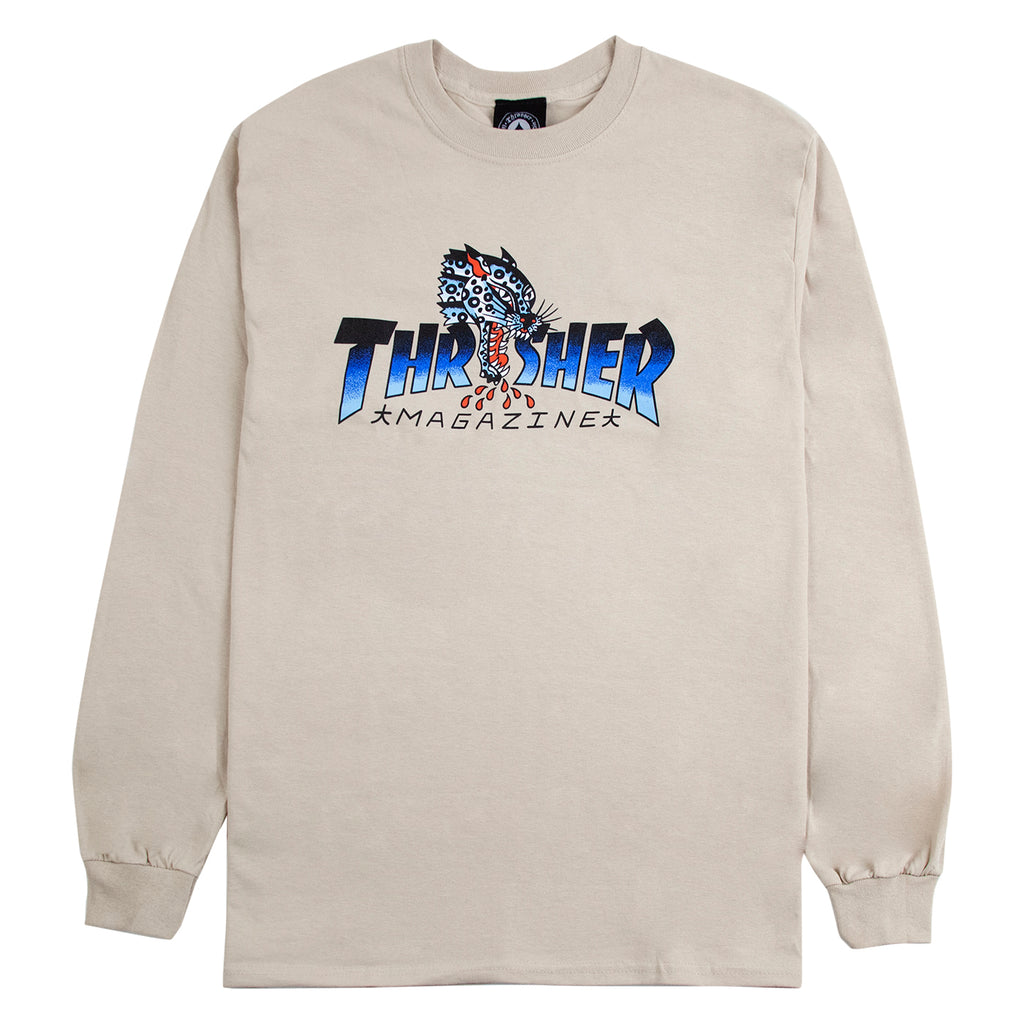Thrasher L/S Leopard Mag T Shirt in Sand