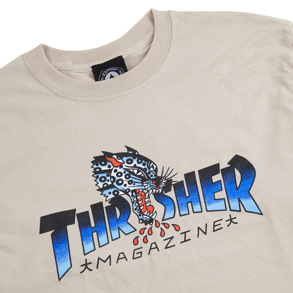 Thrasher L/S Leopard Mag T Shirt in Sand - Detail