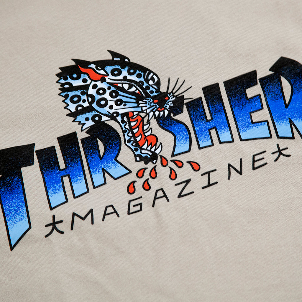 Thrasher L/S Leopard Mag T Shirt in Sand - Print