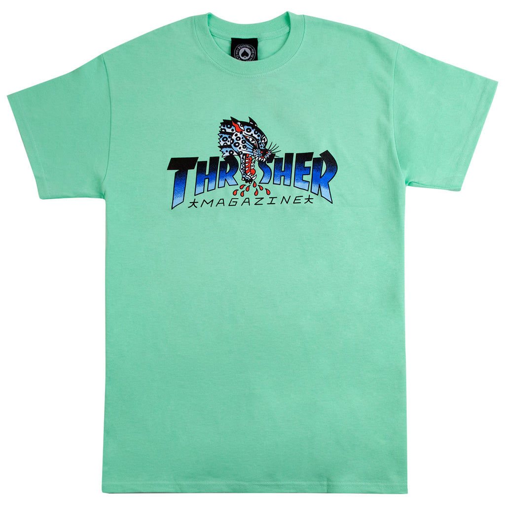 Thrasher Leopard Mag T Shirt in Mint