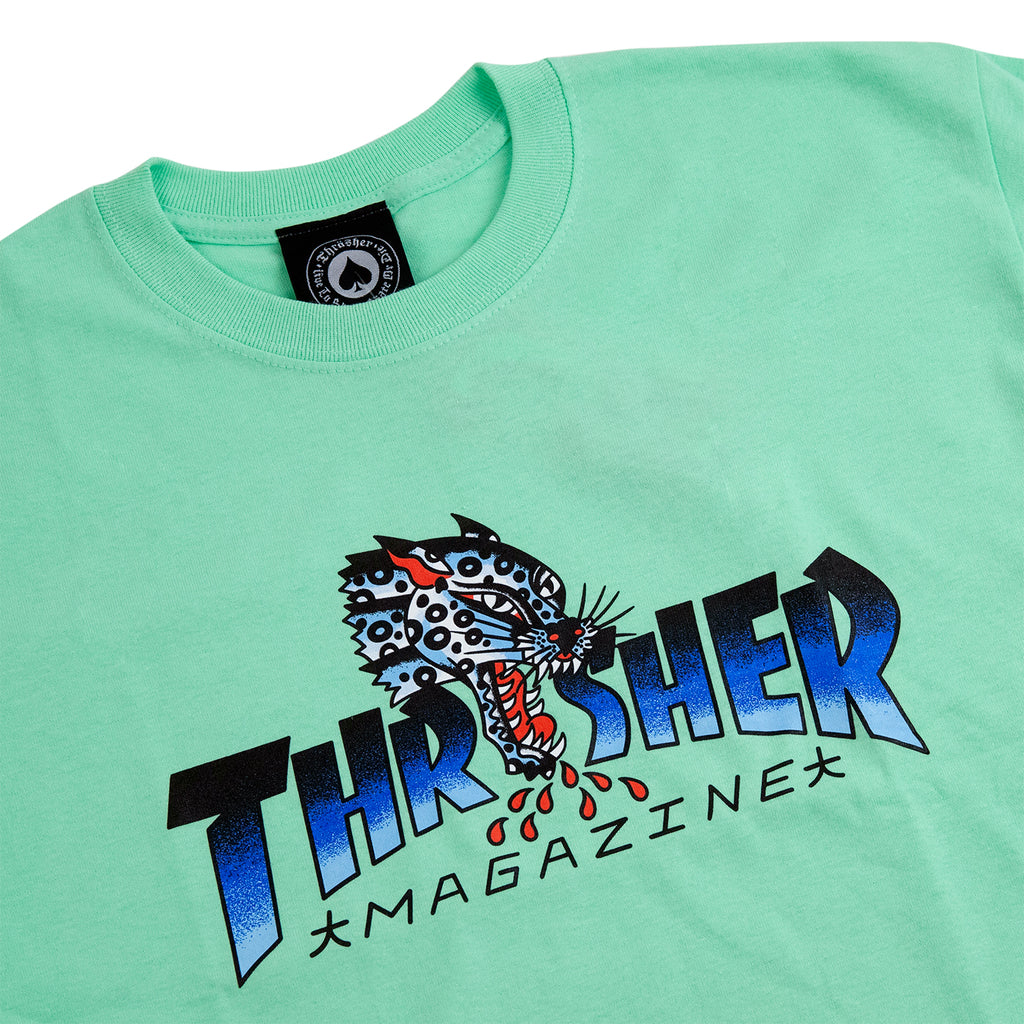 Thrasher Leopard Mag T Shirt in Mint - Detail
