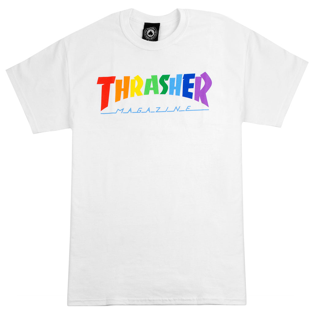 Thrasher Rainbow Mag T Shirt in White
