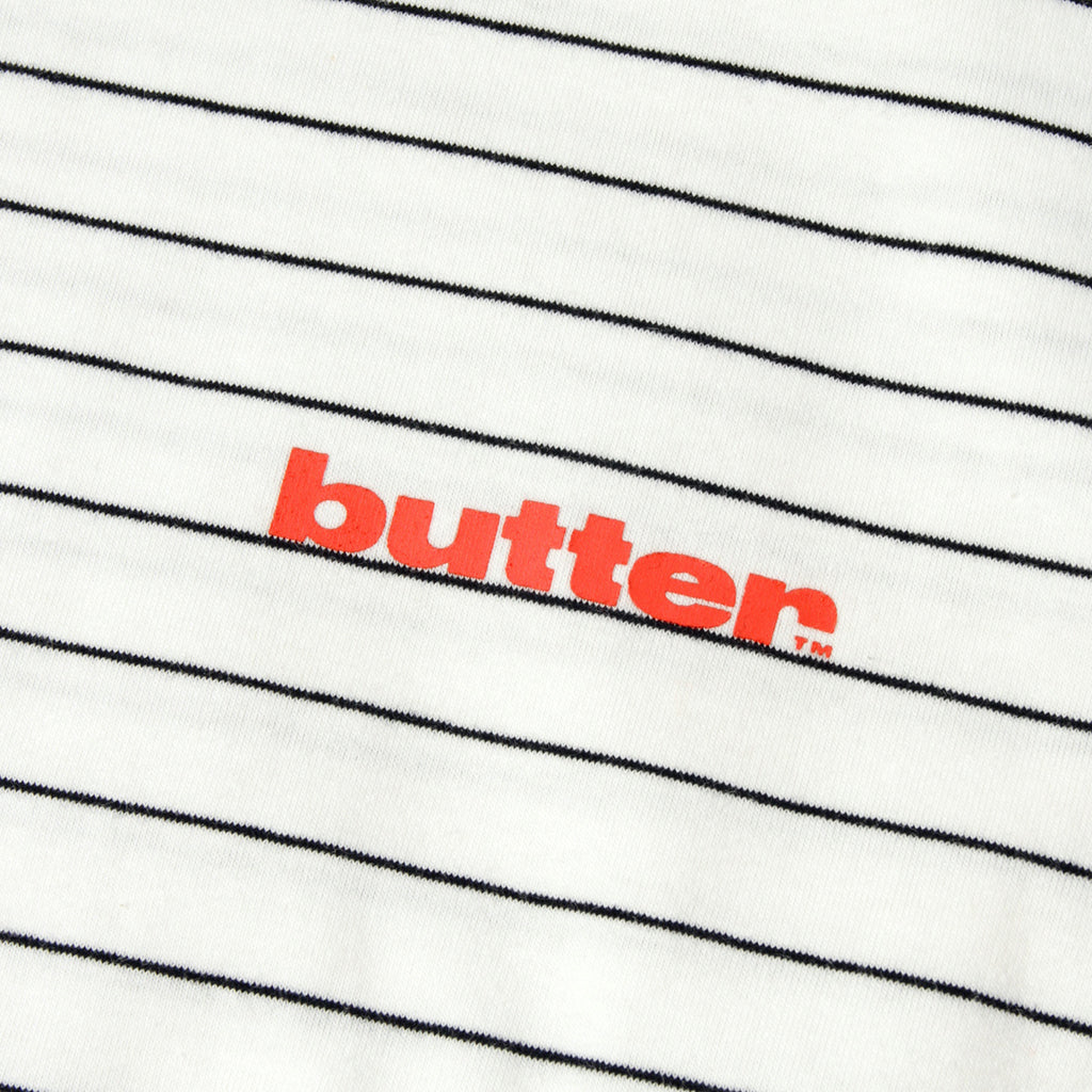 Butter Goods Tide Stripe T Shirt in White - Detail