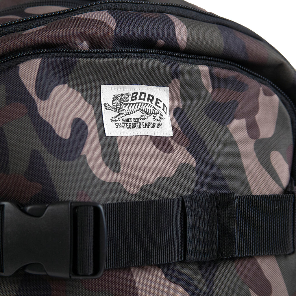 Bored of Southsea Daily Use Skate Backpack in Camo - Label