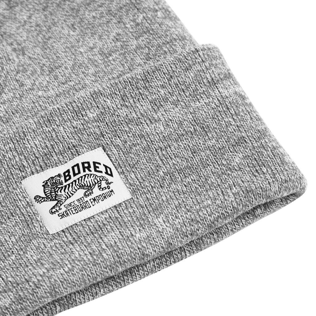 Bored of Southsea Daily Use Beanie in Heather Grey - Detail
