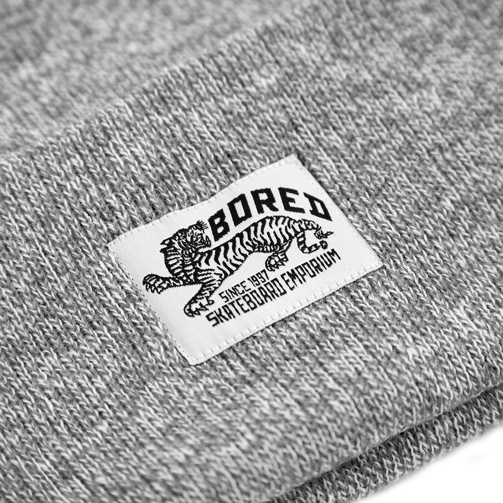 Bored of Southsea Daily Use Beanie in Heather Grey - Label