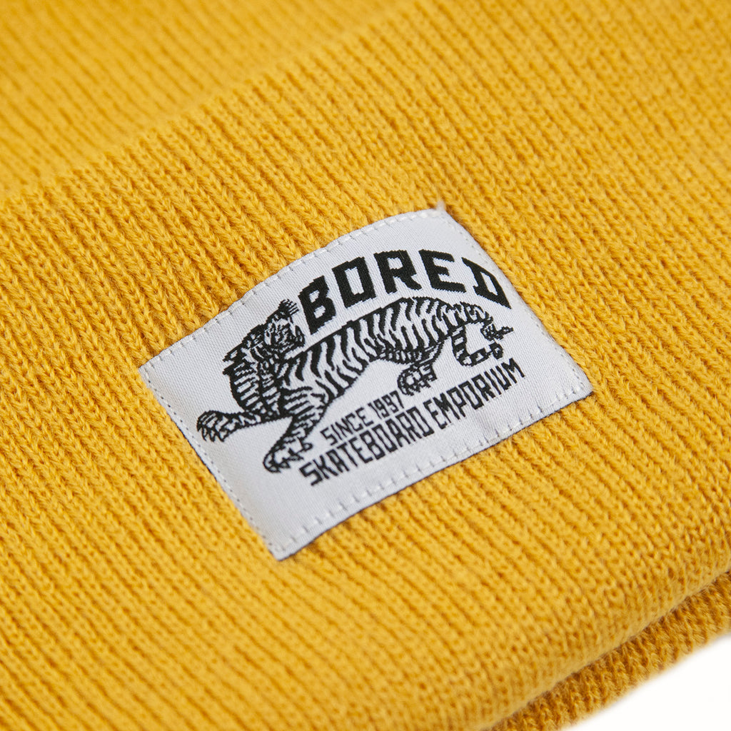 Bored of Southsea Daily Use Beanie in Mustard - Label
