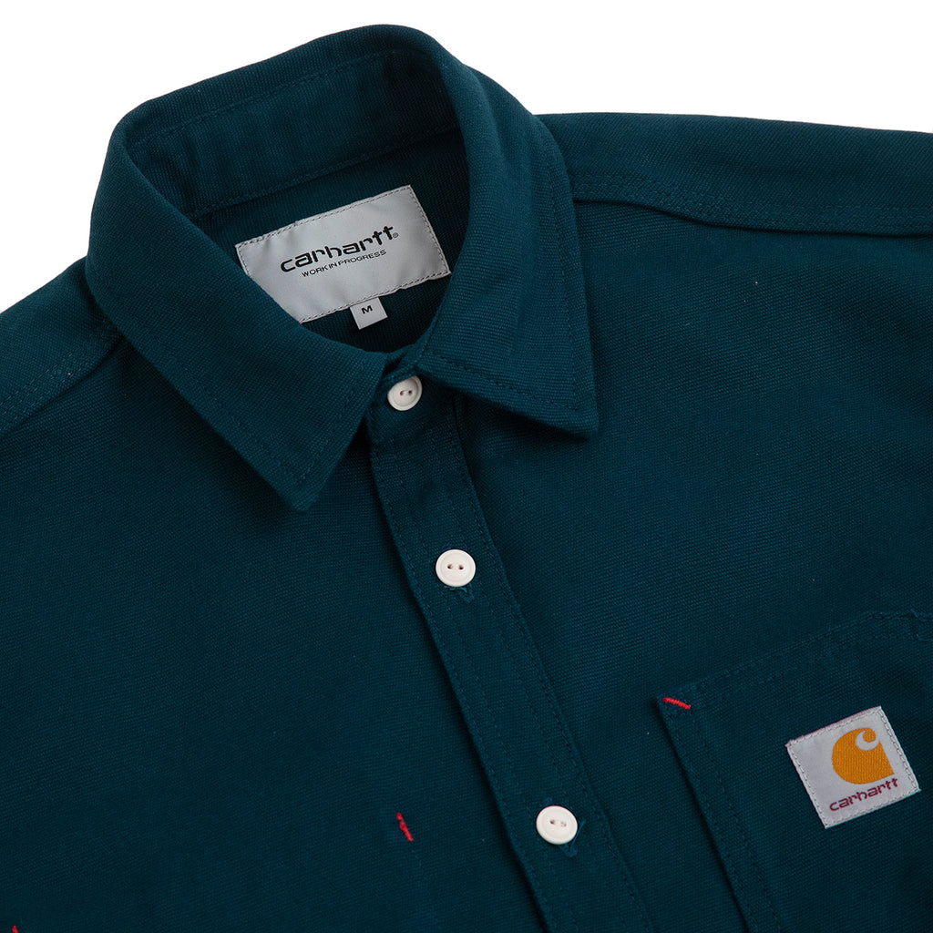 Carhartt WIP L/S Tony Shirt in Duck Blue Rigid - Detail