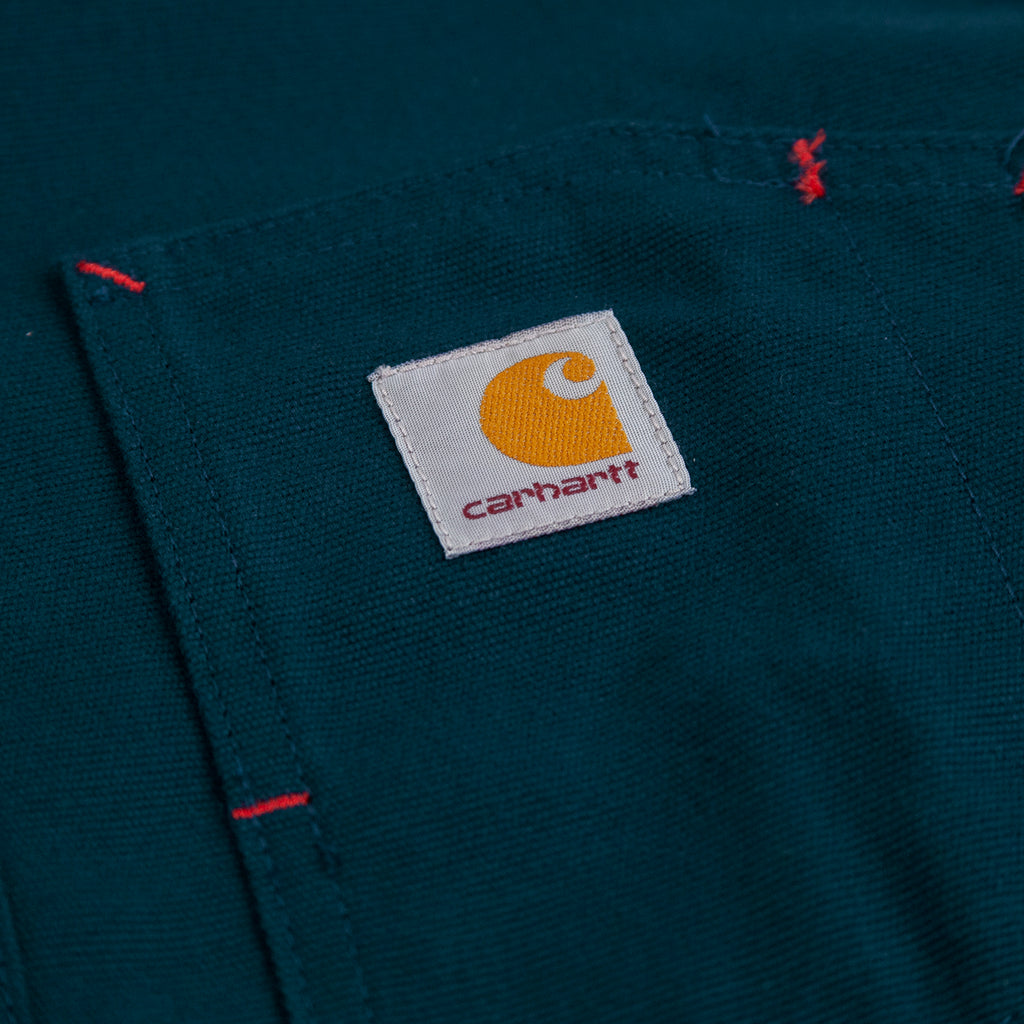 Carhartt WIP L/S Tony Shirt in Duck Blue Rigid - Label