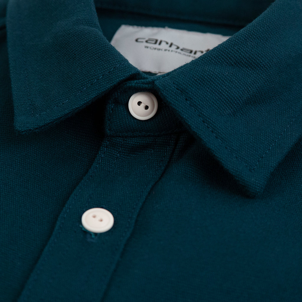 Carhartt WIP L/S Tony Shirt in Duck Blue Rigid - Collar
