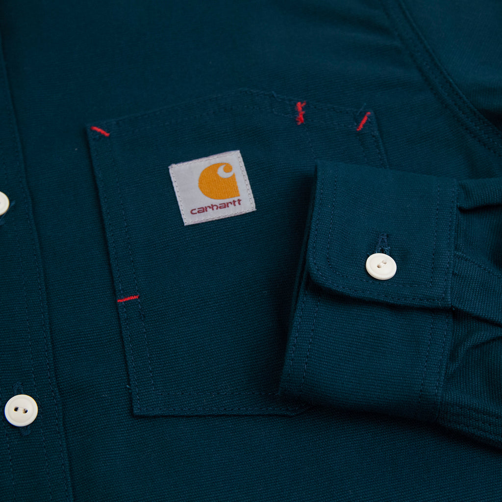 Carhartt WIP L/S Tony Shirt in Duck Blue Rigid - Cuff