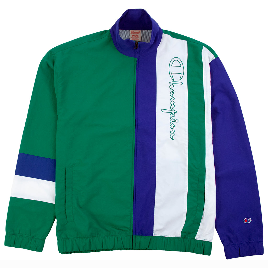 Champion Reverse Weave Colour Block Track Top Jacket in Green / Royal Blue / White