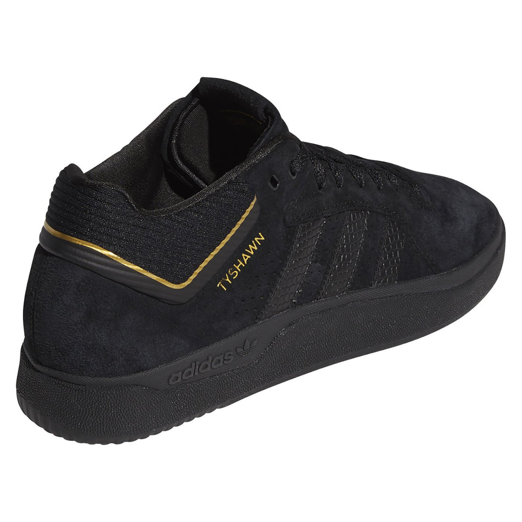 Adidas Skateboarding Tyshawn Shoes in Core Black / Core Black / Gold Metallic - Side