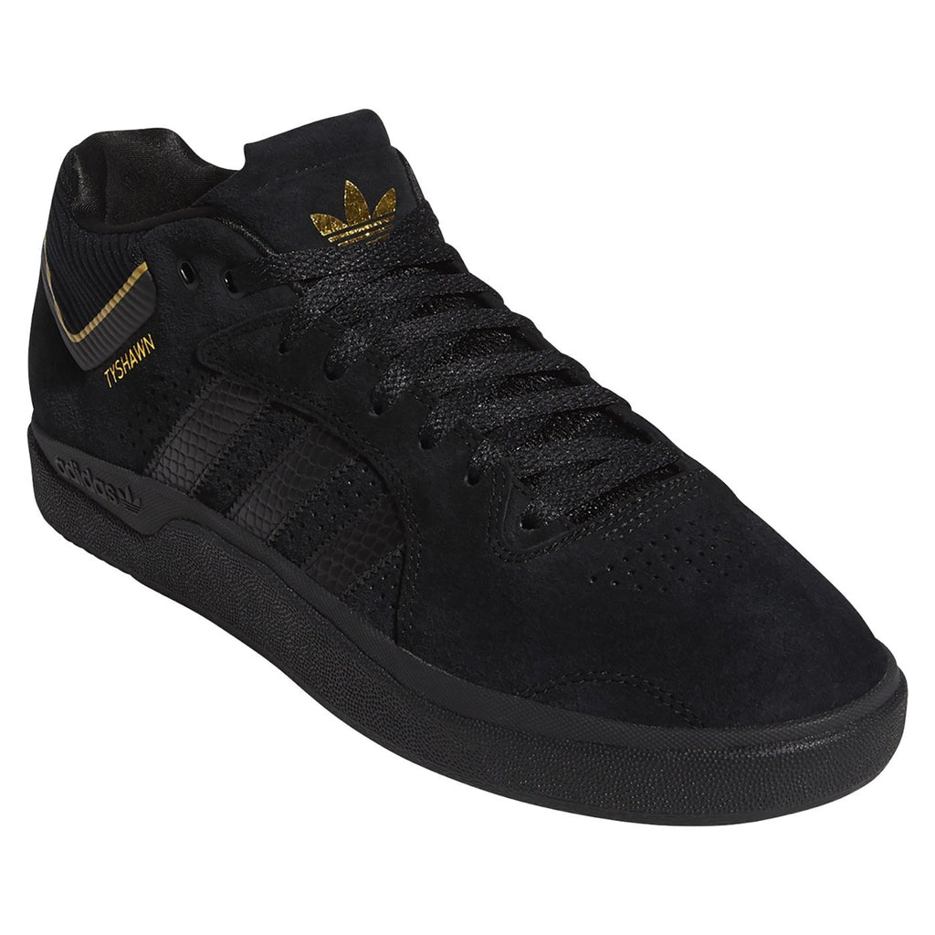 Adidas Skateboarding Tyshawn Shoes in Core Black / Core Black / Gold Metallic - Detail