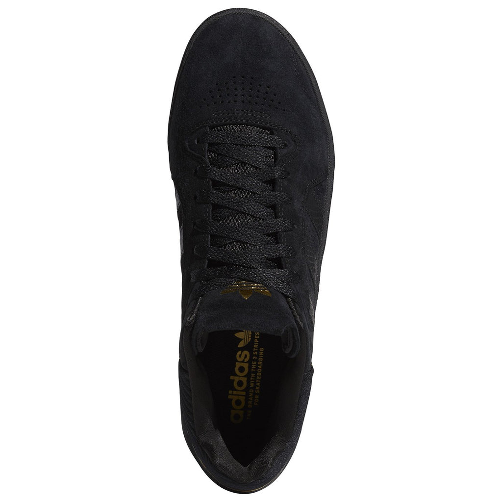 Adidas Skateboarding Tyshawn Shoes in Core Black / Core Black / Gold Metallic - Top