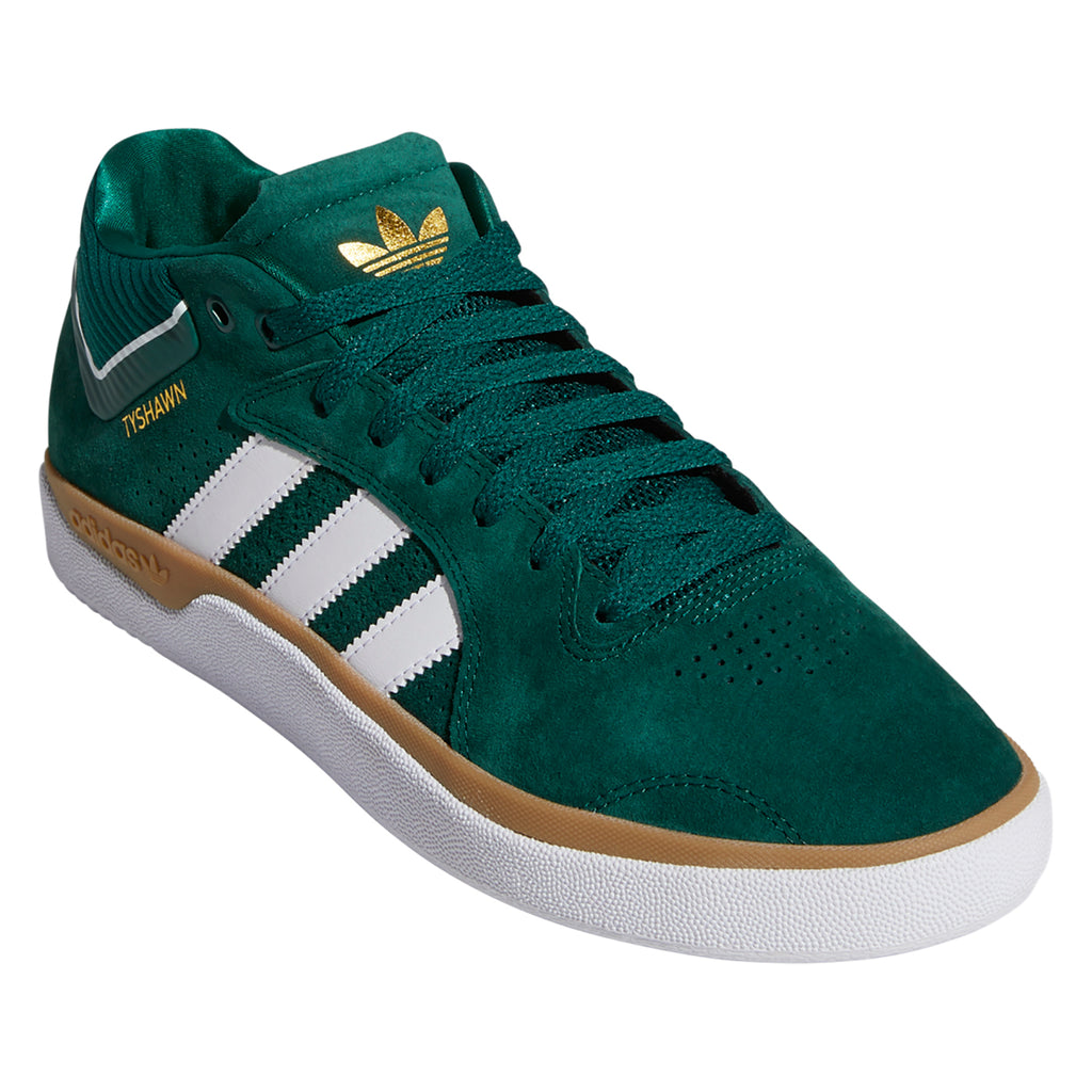 Adidas Skateboarding Tyshawn Shoes in Collegiate Green / Footwear White / Gum 4 - Front