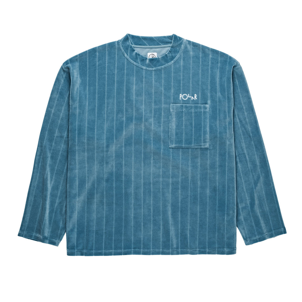 Polar Skate Co Velour Pullover in Grey Blue