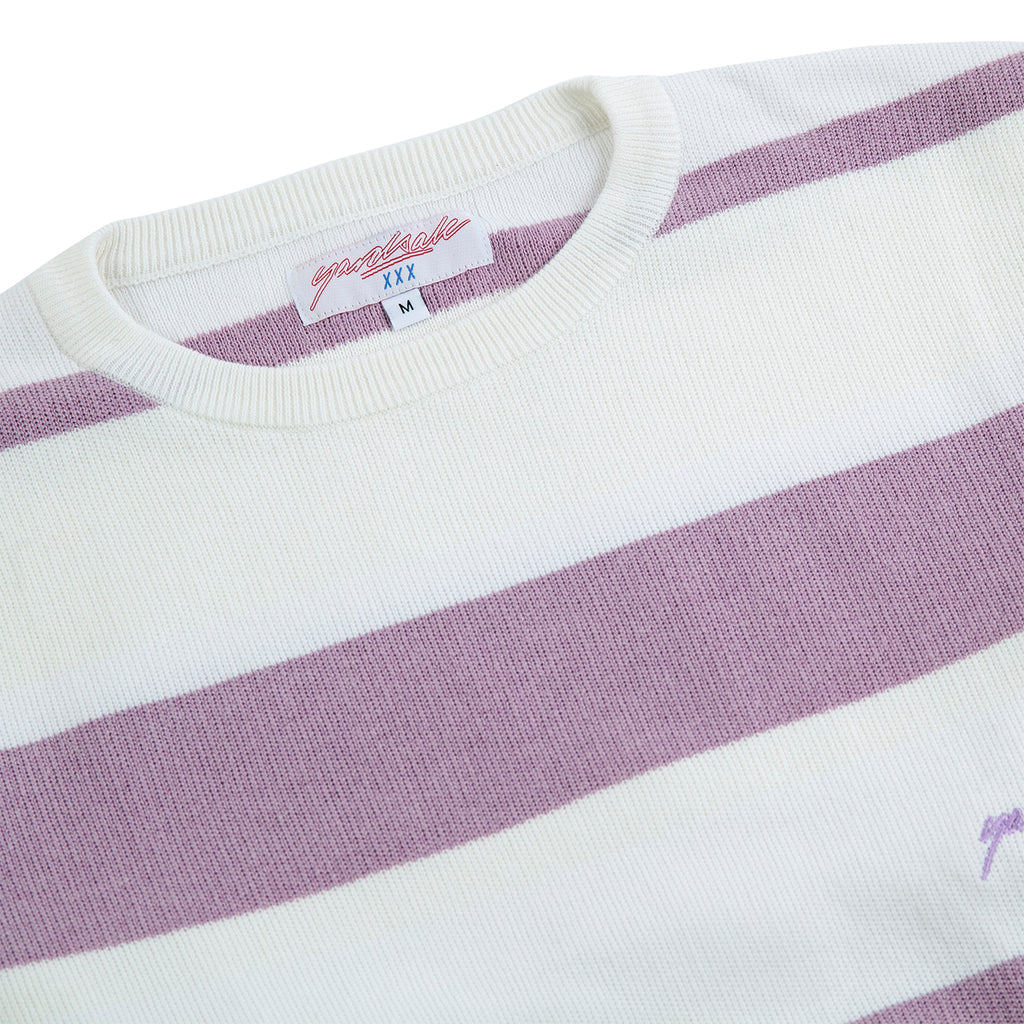 Yardsale Val Knit Crewneck in Lavender / White - Neck